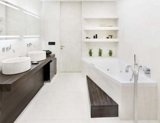 Salle de bain moderne entièrement rénové. Comptez plusieurs milliers d'euros dans ce cas.